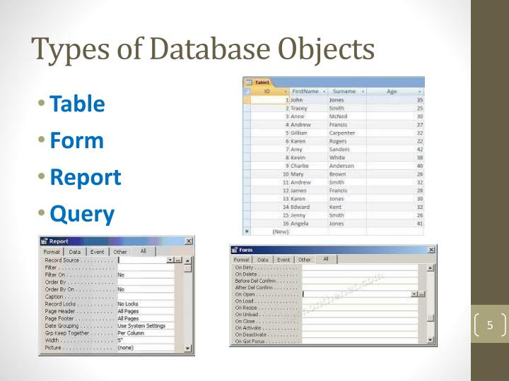 Types of Database Objects