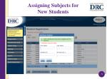 assigning subjects for new students1