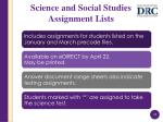 science and social studies assignment lists