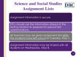 science and social studies assignment lists1