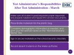 test administrator s responsibilities after test administration march