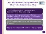 test administrator s responsibilities after test administration may