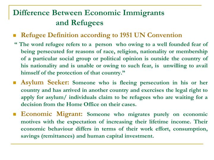 Difference between economic immigrants and refugees