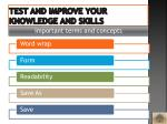 test and improve your knowledge and skills2