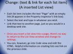 change text link for each list item a inserted list view