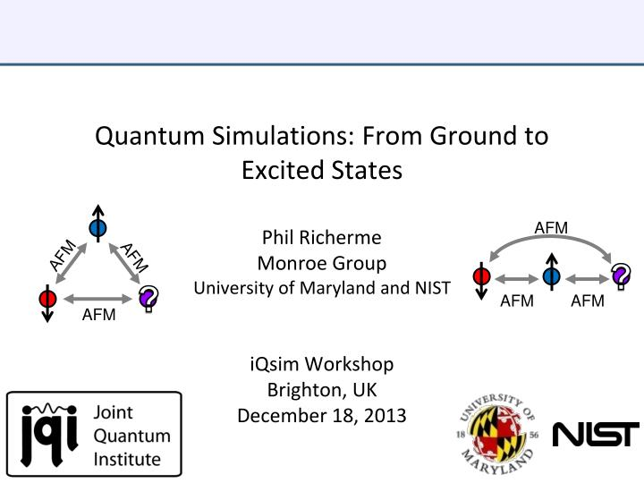 quantum simulations from ground to excited states n.