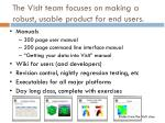 the visit team focuses on making a robust usable product for end users