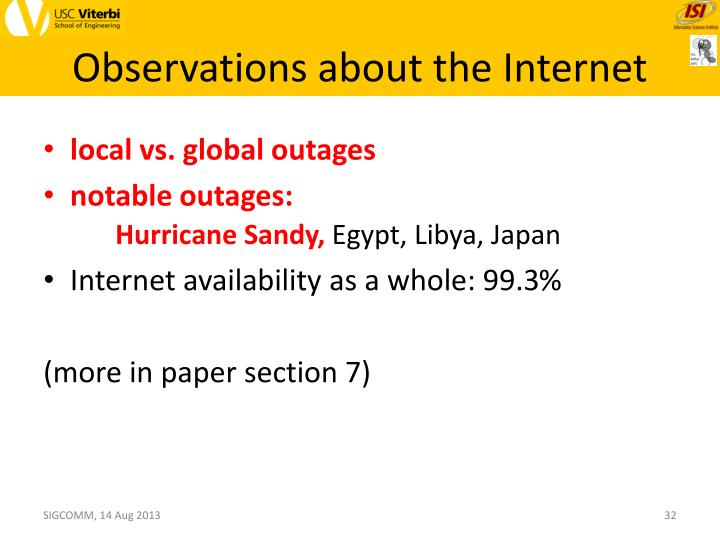 Observations about the Internet