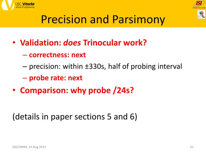 Precision and Parsimony
