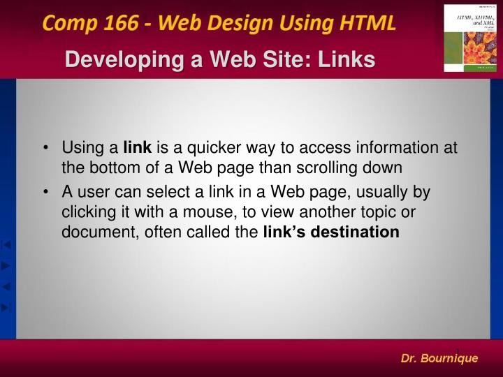 developing a web site links n.