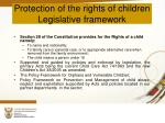 protection of the rights of children legislative framework