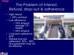 the problem of interest refusal drop out adherence