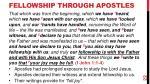 fellowship through apostles