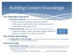building content knowledge