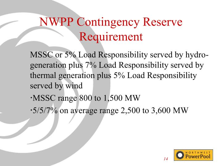 NWPP Contingency Reserve Requirement