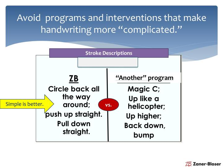 "Avoid  programs and interventions that make handwriting more ""complicated."""