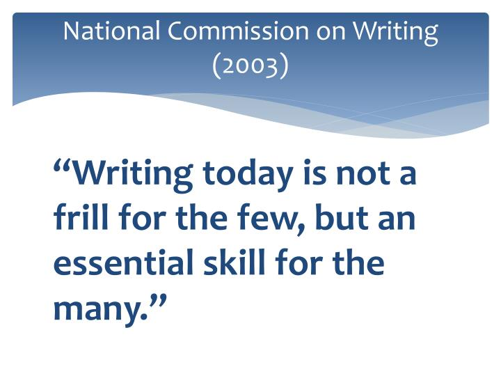 National commission on writing 2003
