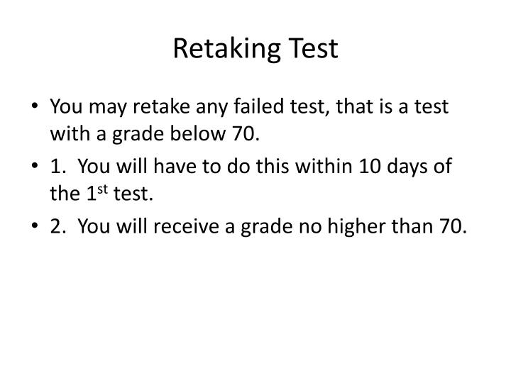 Retaking Test