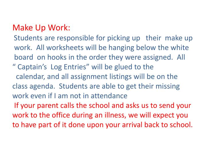 Make Up Work: