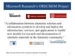 microsoft research s orechem project1