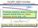 for srt cedf is the best weighted srt schedulability on 24 core intel system