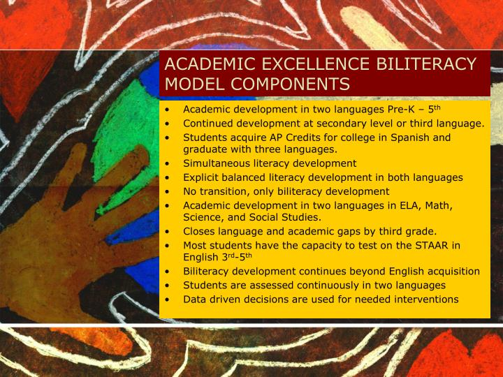 ACADEMIC EXCELLENCE BILITERACY MODEL COMPONENTS