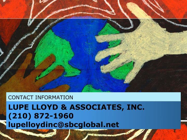 LUPE LLOYD & ASSOCIATES, INC.            (210) 872-1960