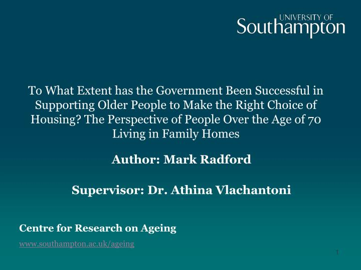 author mark radford supervisor dr athina vlachantoni n.