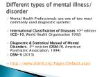 different types of mental illness disorder