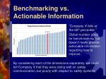 benchmarking vs actionable information