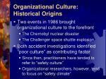 organizational culture historical origins
