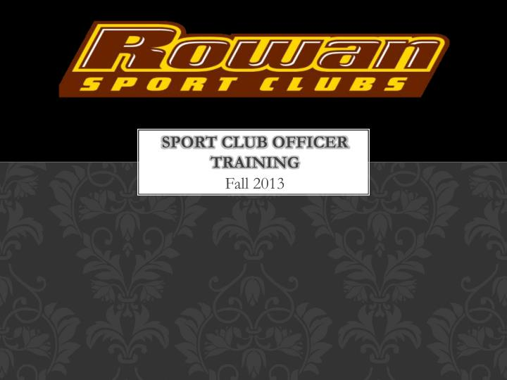 sport club officer training n.