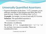 universally quantified assertions