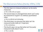 the macnamara fallacy handy 1994 p 219