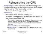relinquishing the cpu