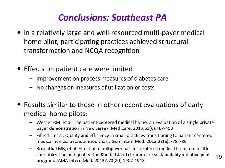 Conclusions: Southeast PA