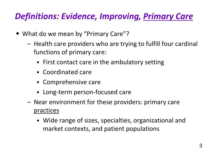Definitions evidence improving primary care