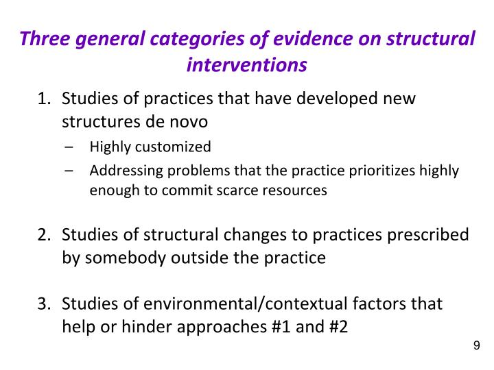 Three general categories of evidence
