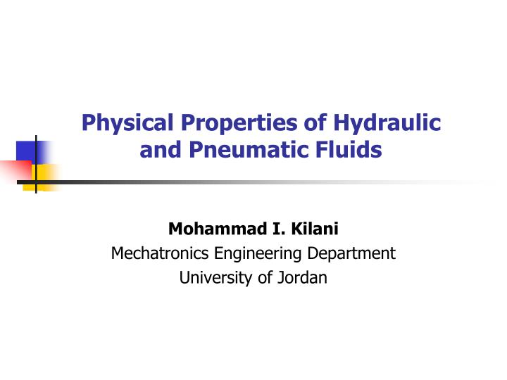 physical properties of hydraulic and pneumatic fluids n.