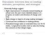 discussion interview data on reading attitudes perceptions and strategies