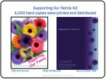 supporting our family kit 4 000 hard copies were printed and distributed