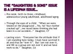 the daughters sons issue is a lifespan issue