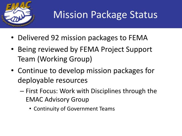 Mission Package Status