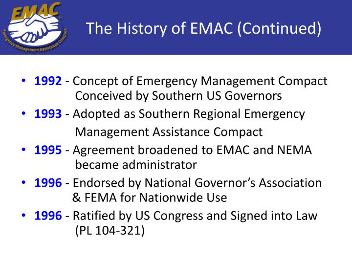 The History of EMAC (Continued)