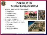 purpose of the reserve component rc