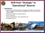 shift from strategic to operational reserve1