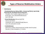 types of reserve mobilization orders