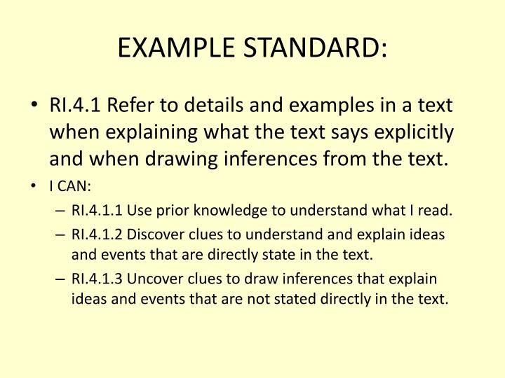 EXAMPLE STANDARD:
