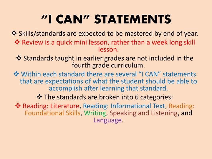 """""""I CAN"""" STATEMENTS"""