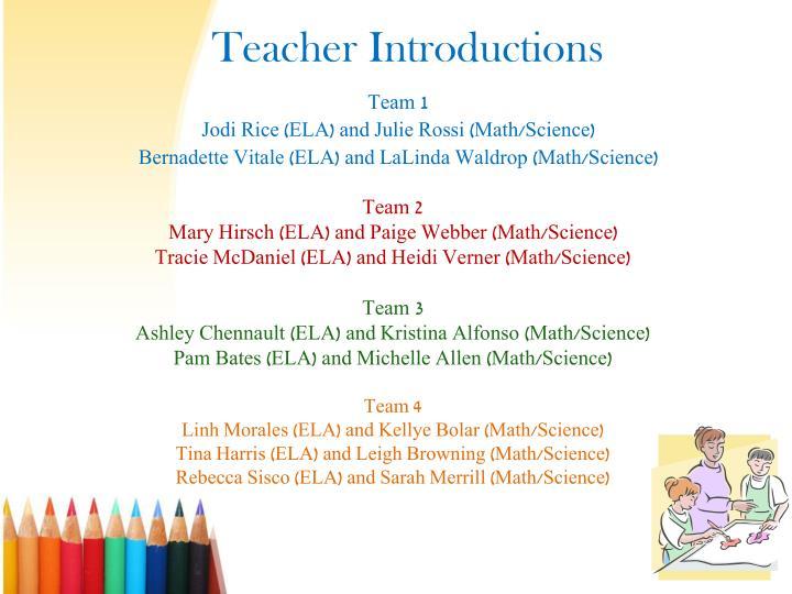 Teacher introductions
